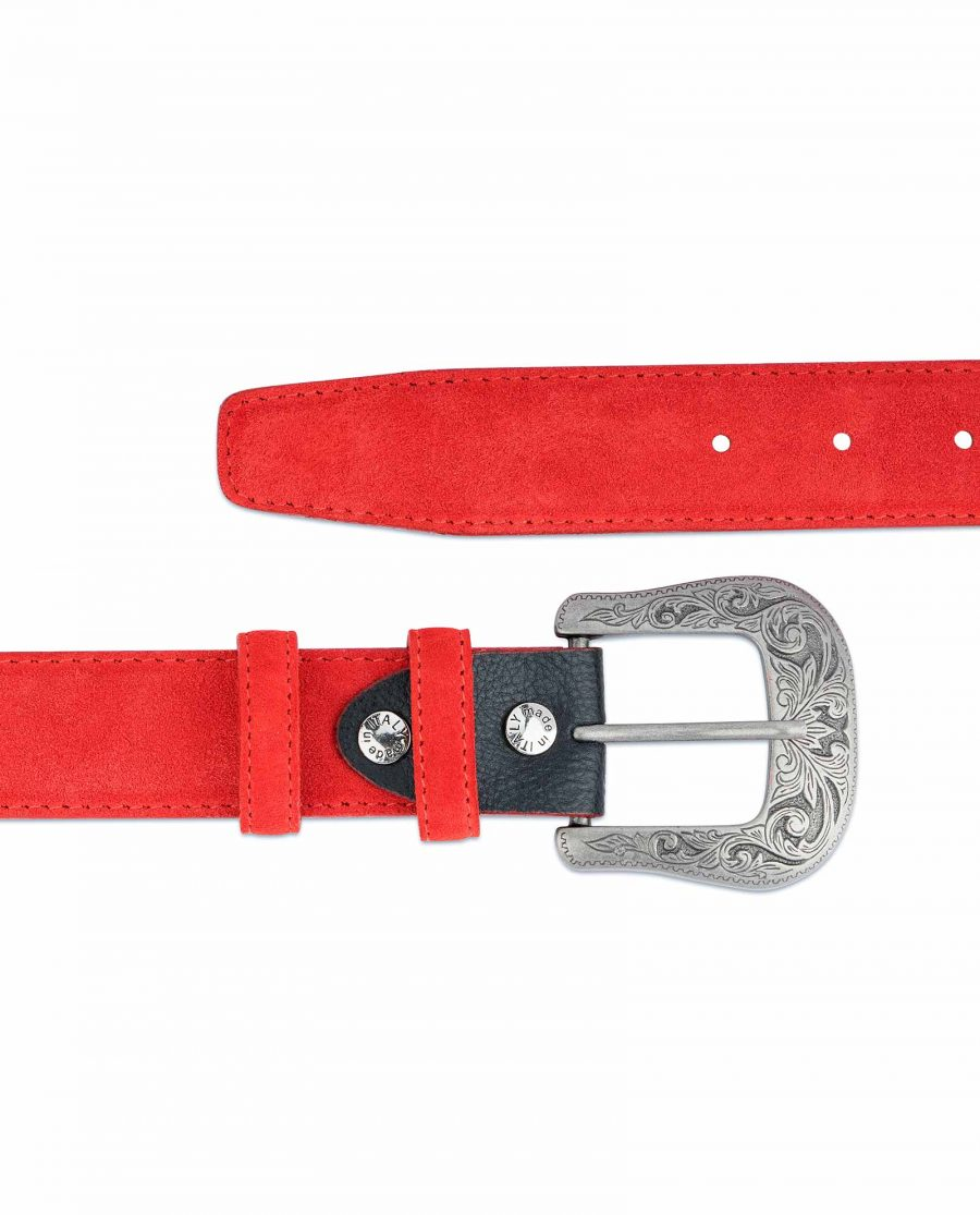 Red-Western-Belt-Italian-Suede-Leather-High-quality-buckle-Heavy-Solid