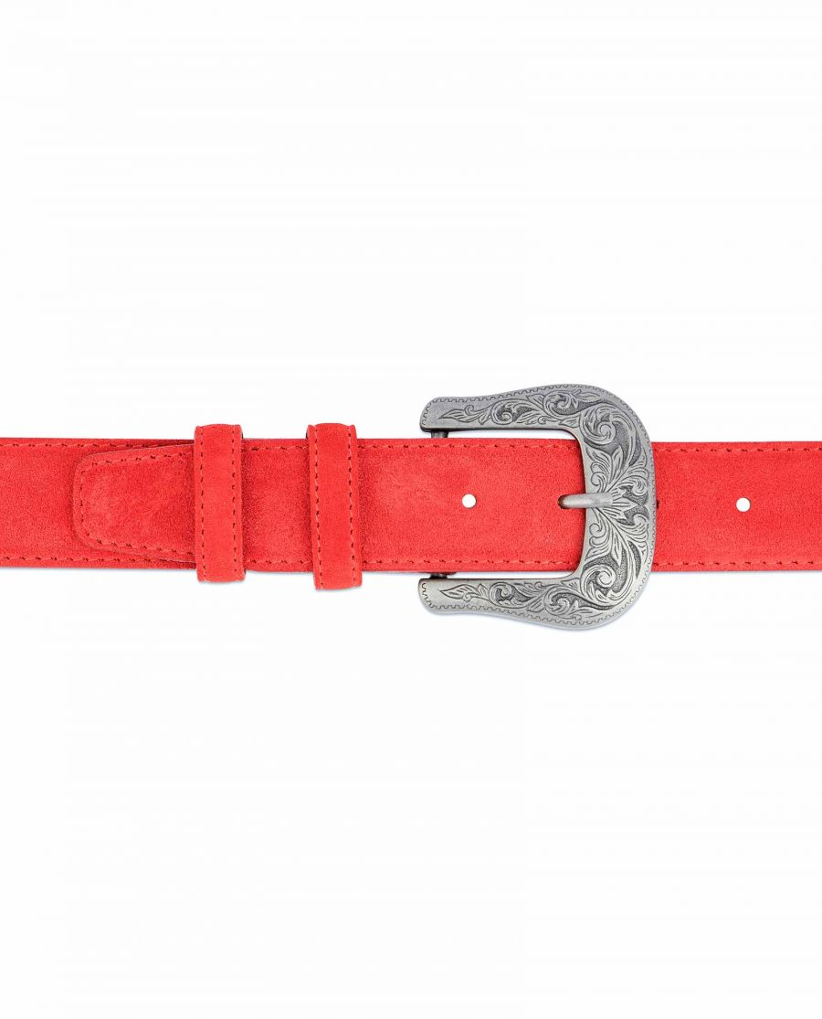 Red-Western-Belt-Italian-Suede-Leather-On-jeans