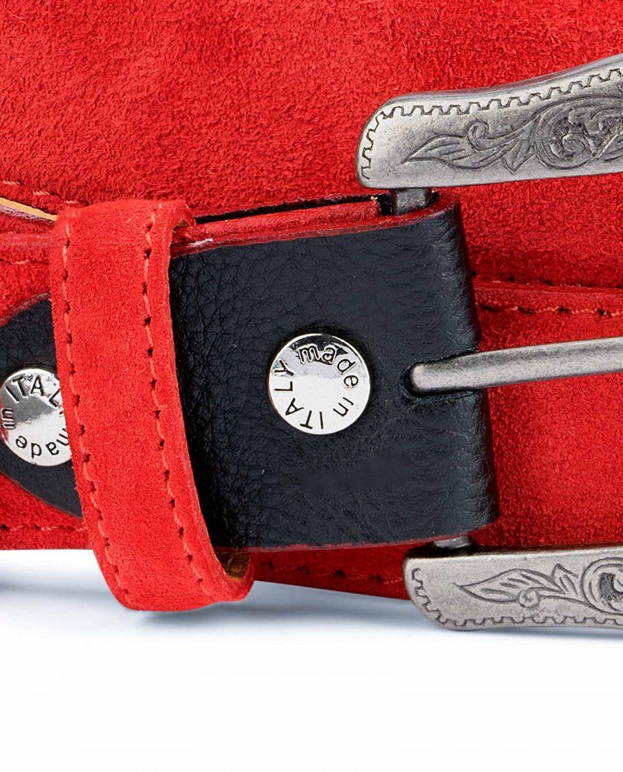 Red-Western-Belt-Italian-Suede-Leather-Screws