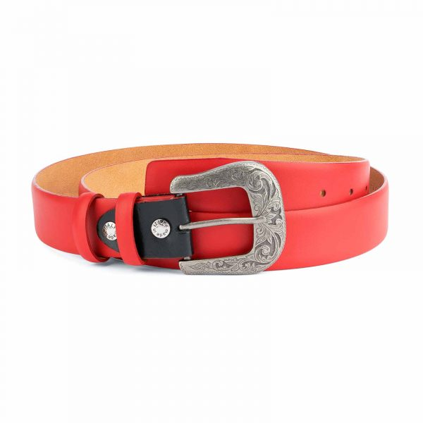 Red-Western-Belt-Mens-Veg-Tan-Leather-Capo-Pelle