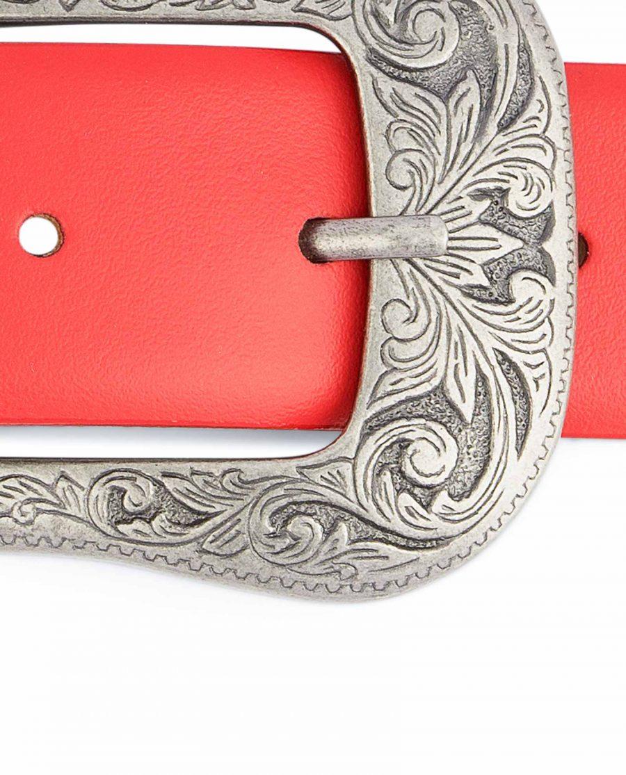 Red-Western-Belt-Mens-Veg-Tan-Leather-Floral-buckle
