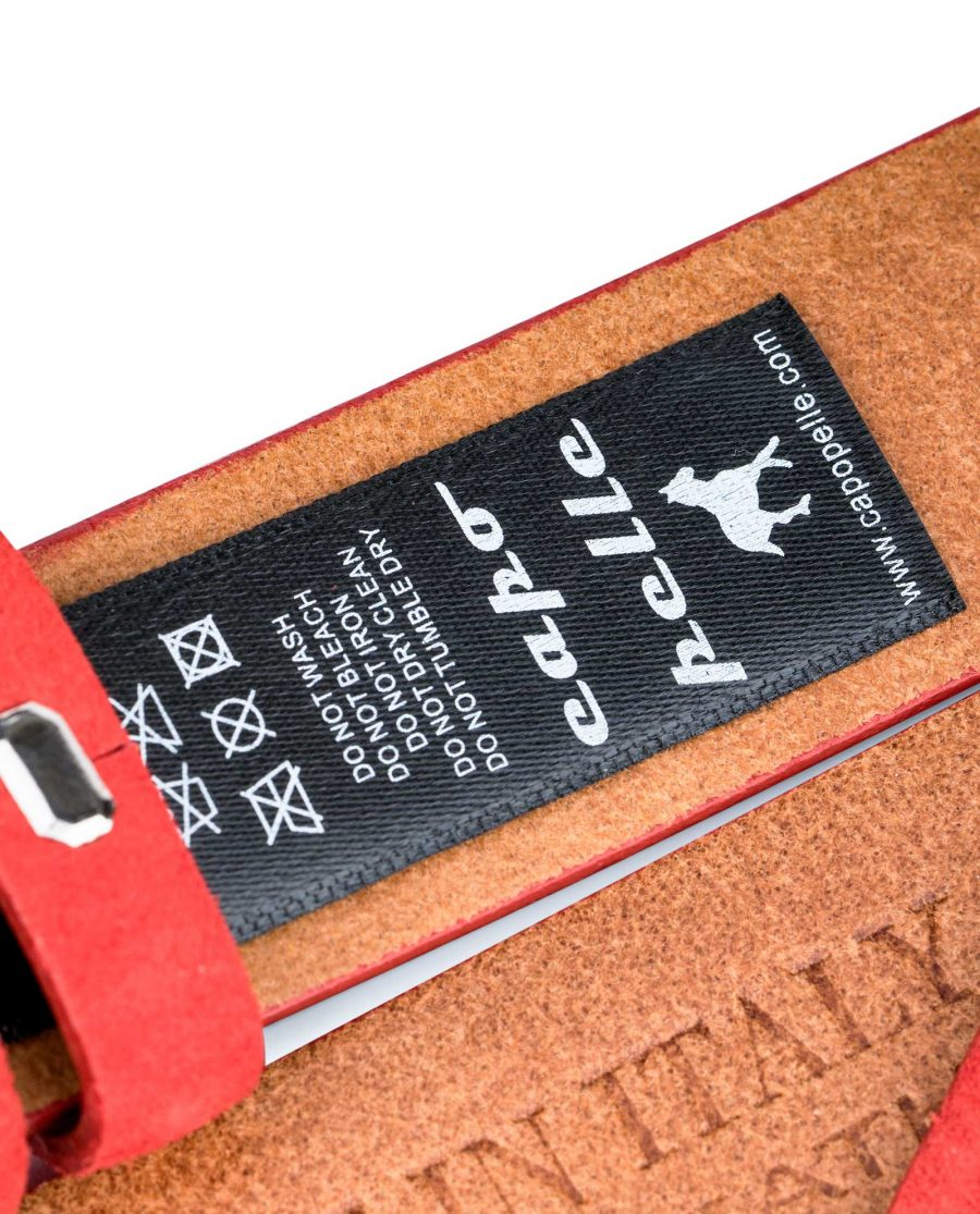 Replacement-Red-Suede-Leather-Belt-1-1-8-inch-Care-tag