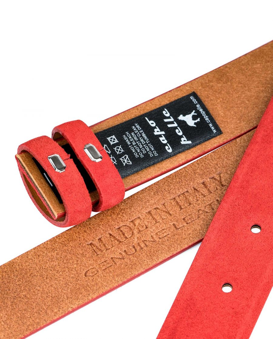 Replacement-Red-Suede-Leather-Belt-1-1-8-inch-Heat-stamp