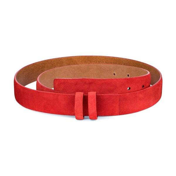Replacement-Red-Suede-Leather-Belt-1-1-8-inch-Main-picture