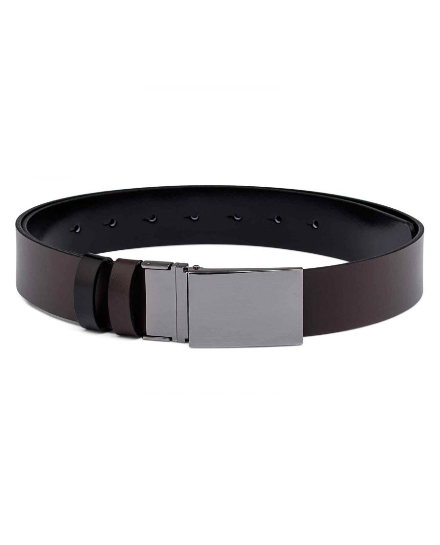 Reversible-Mens-Patent-Leather-Belt-Brown-side