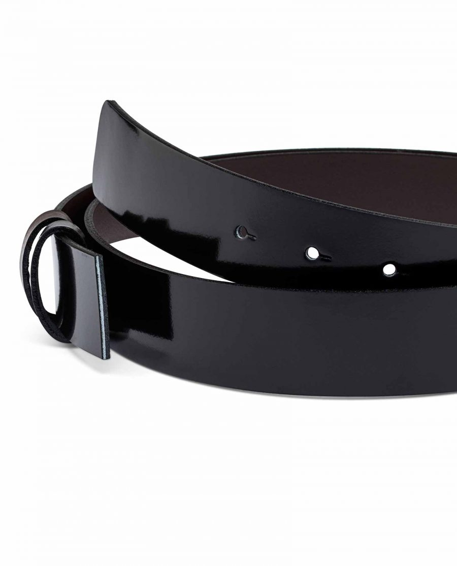 Reversible-Mens-Patent-Leather-Belt-Strap-Clamp-buckle-attachment