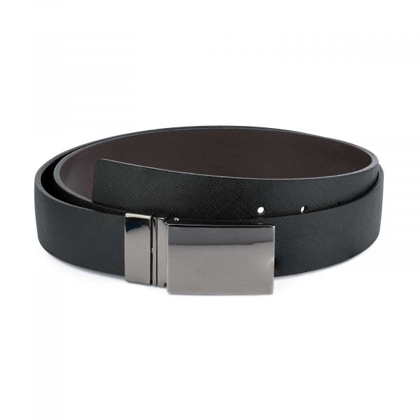 Reversible-Saffiano-Belt-with-Twist-Buckle-Mens-Leather-First-picture