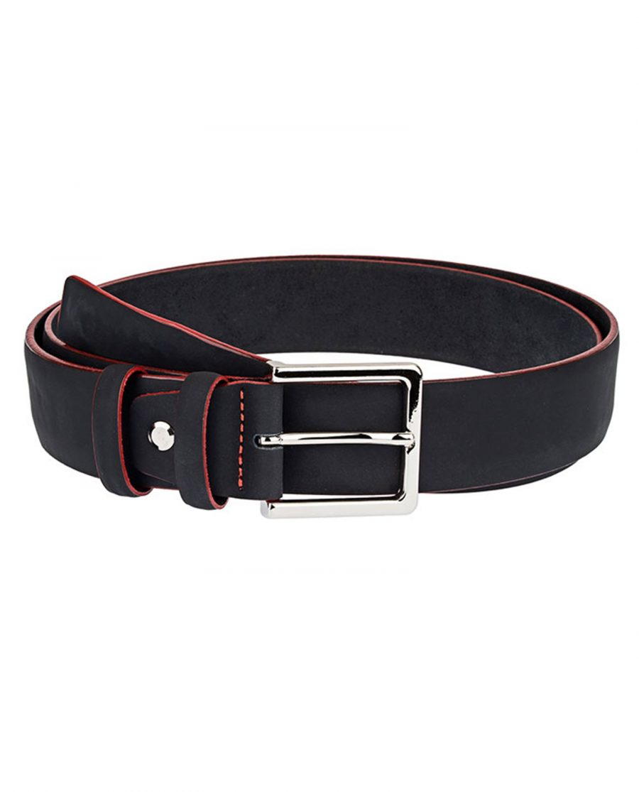 Rubber-Coated-Black-Belt-With-Red-Edges-Front-Image