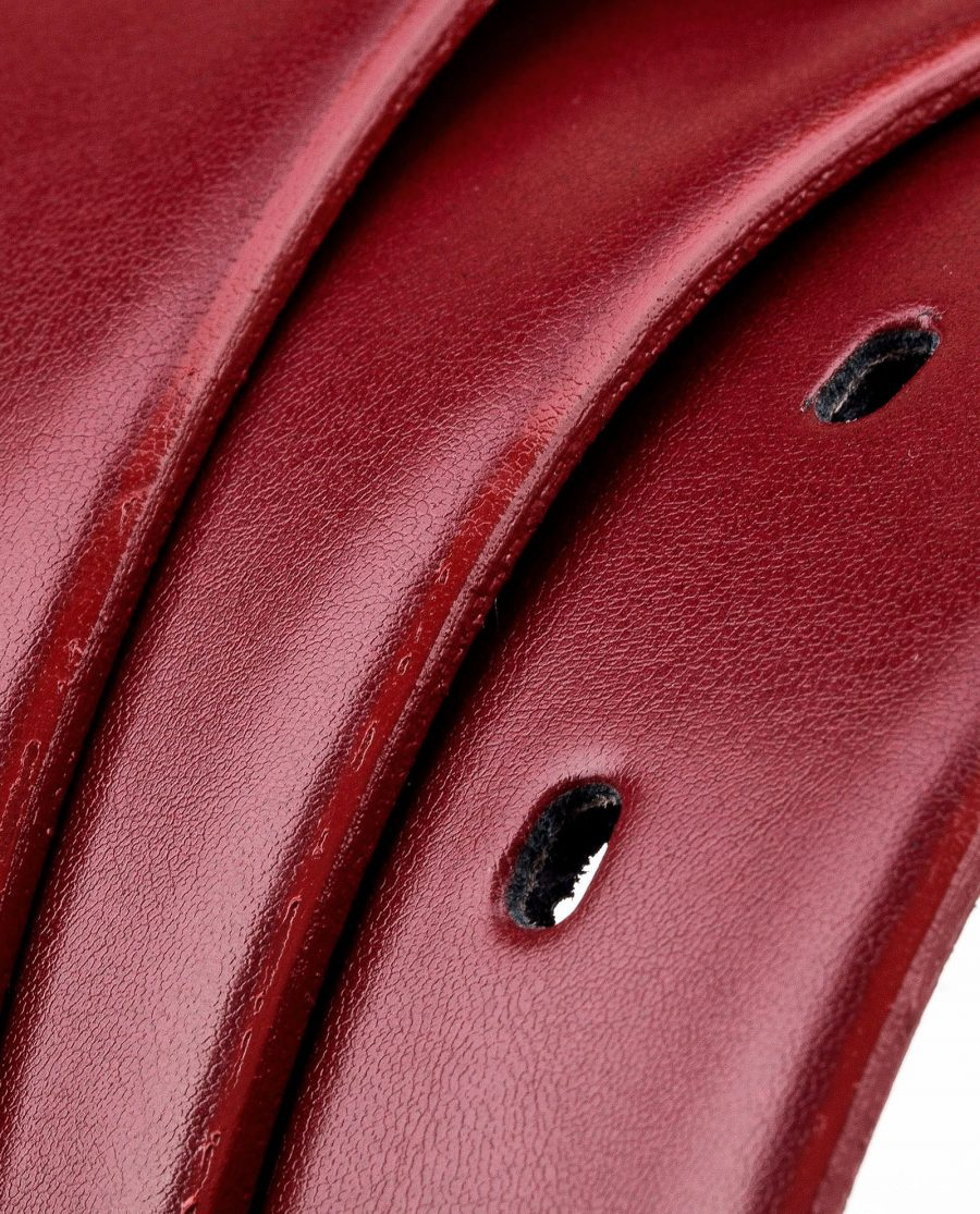 Ruby-Red-Leather-Belt-Rolled