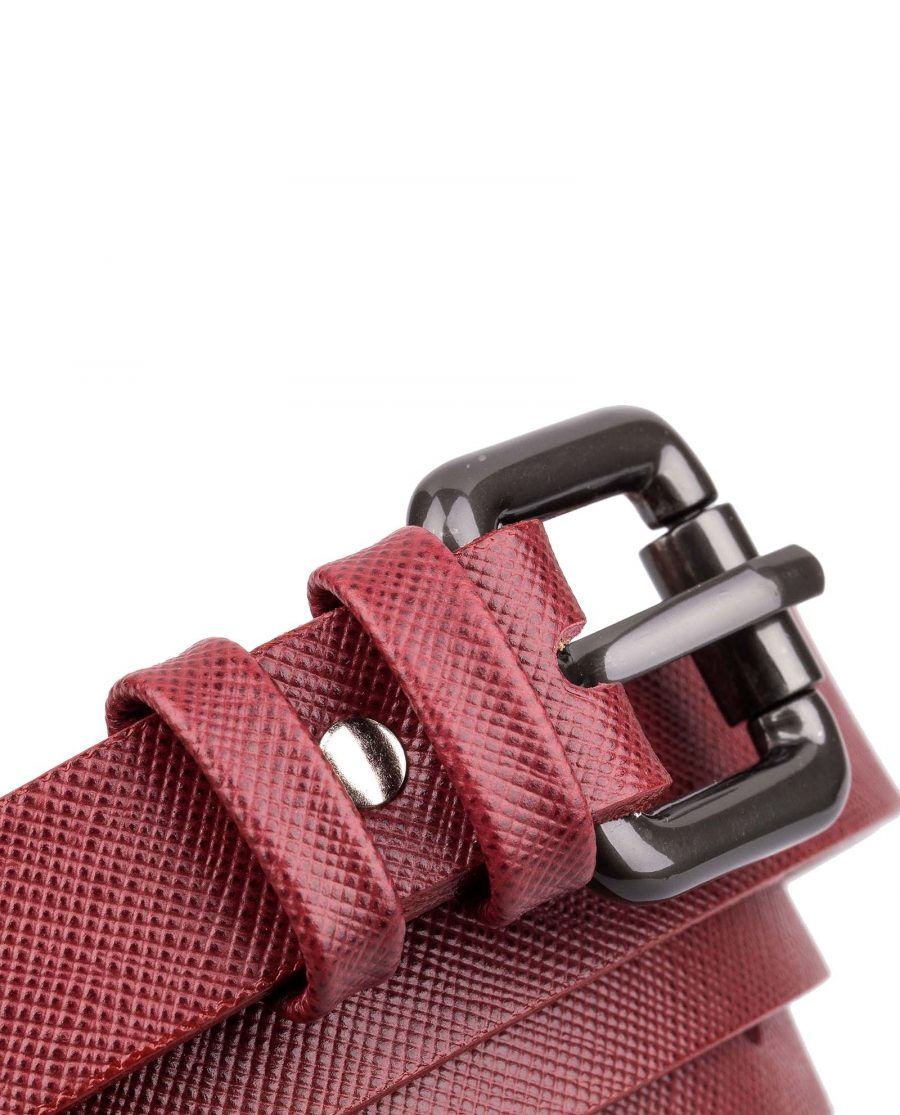 Ruby-Red-Saffiano-Skinny-Belt-Buckle