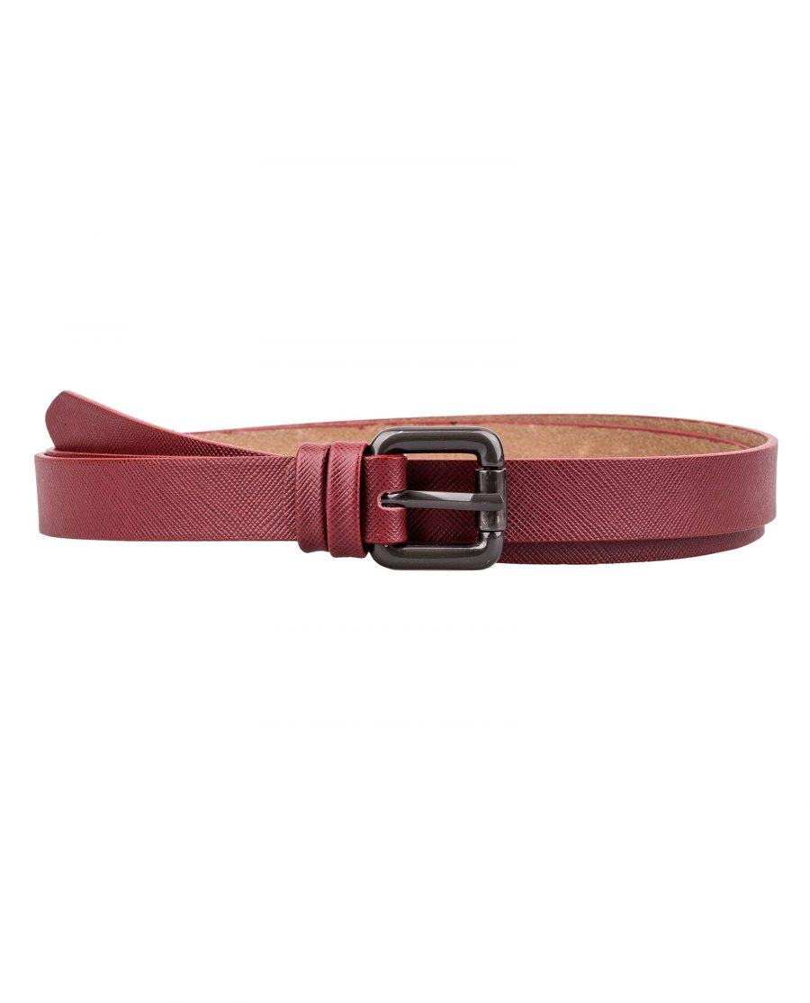 Ruby-Red-Saffiano-Skinny-Belt-First-picture