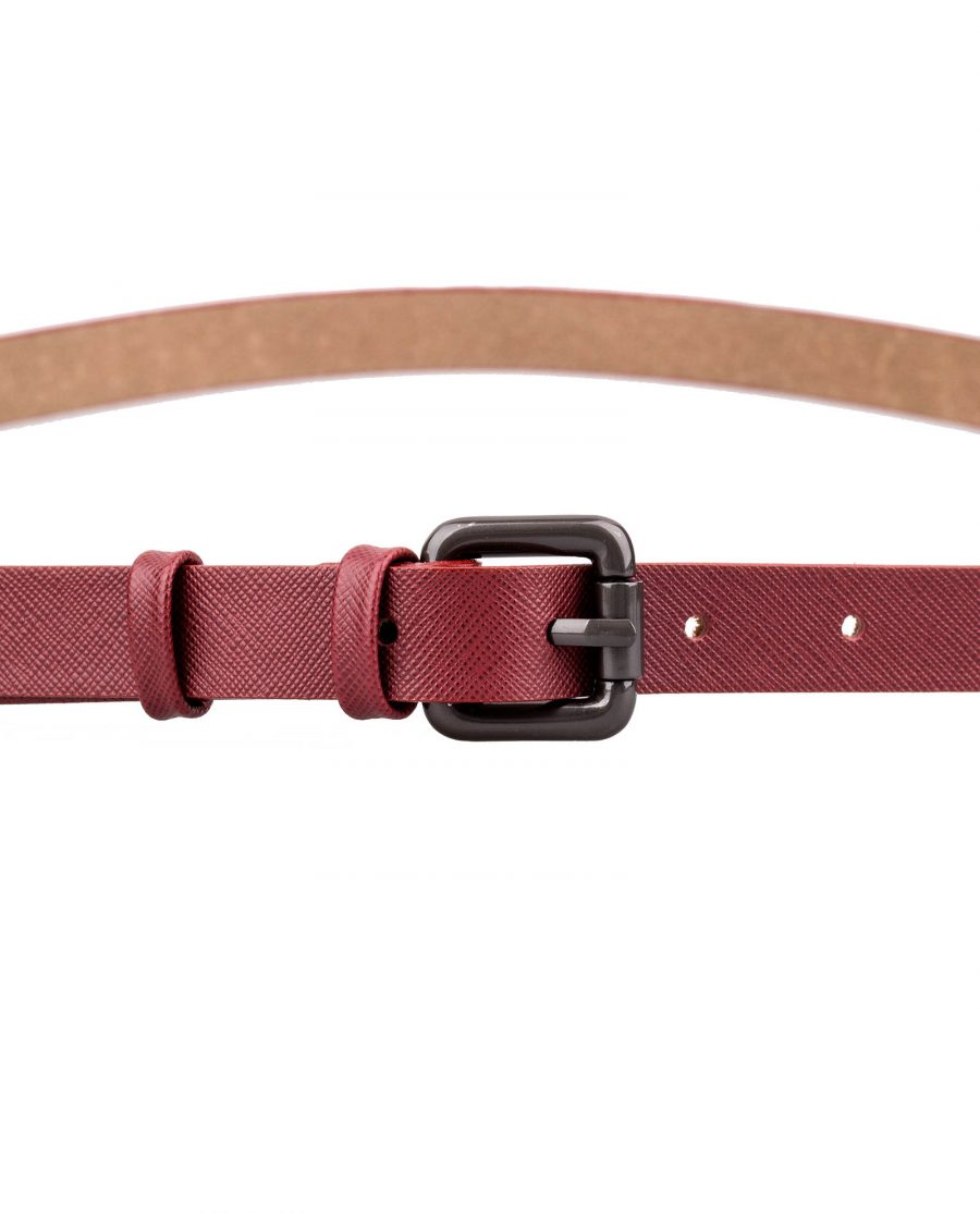 Ruby-Red-Saffiano-Skinny-Belt-Front-Image