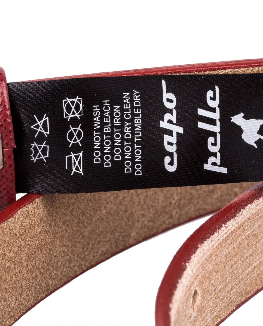 Ruby-Red-Saffiano-Skinny-Belt-Rolled-Care-tag