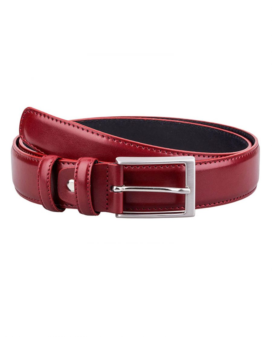 Ruby-Red-Threaded-Leather-Belt-Front-Image