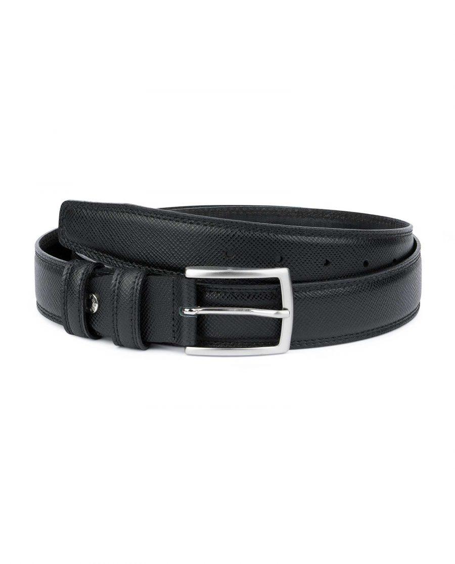 Saffiano-Black-Leather-Belt-Mens-Dress-Capo-Pelle