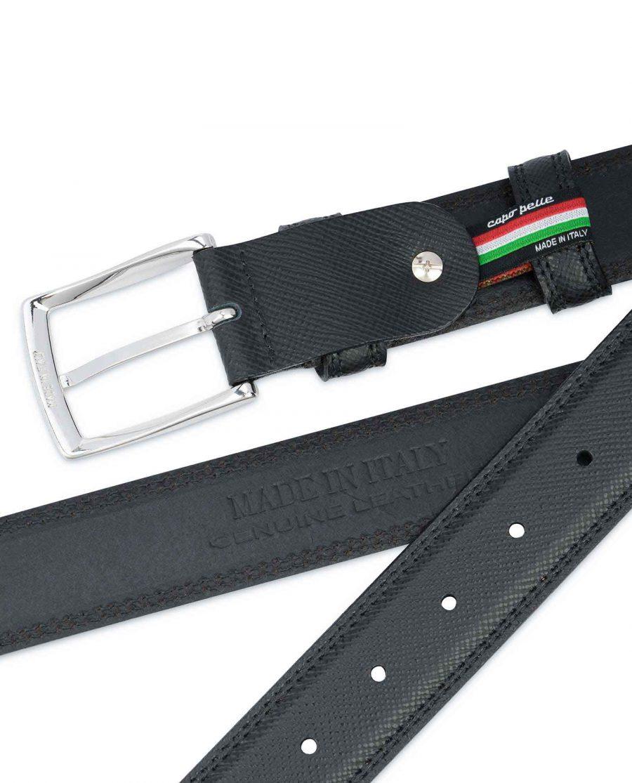 Saffiano-Black-Leather-Belt-Mens-Dress-Heat-stamp