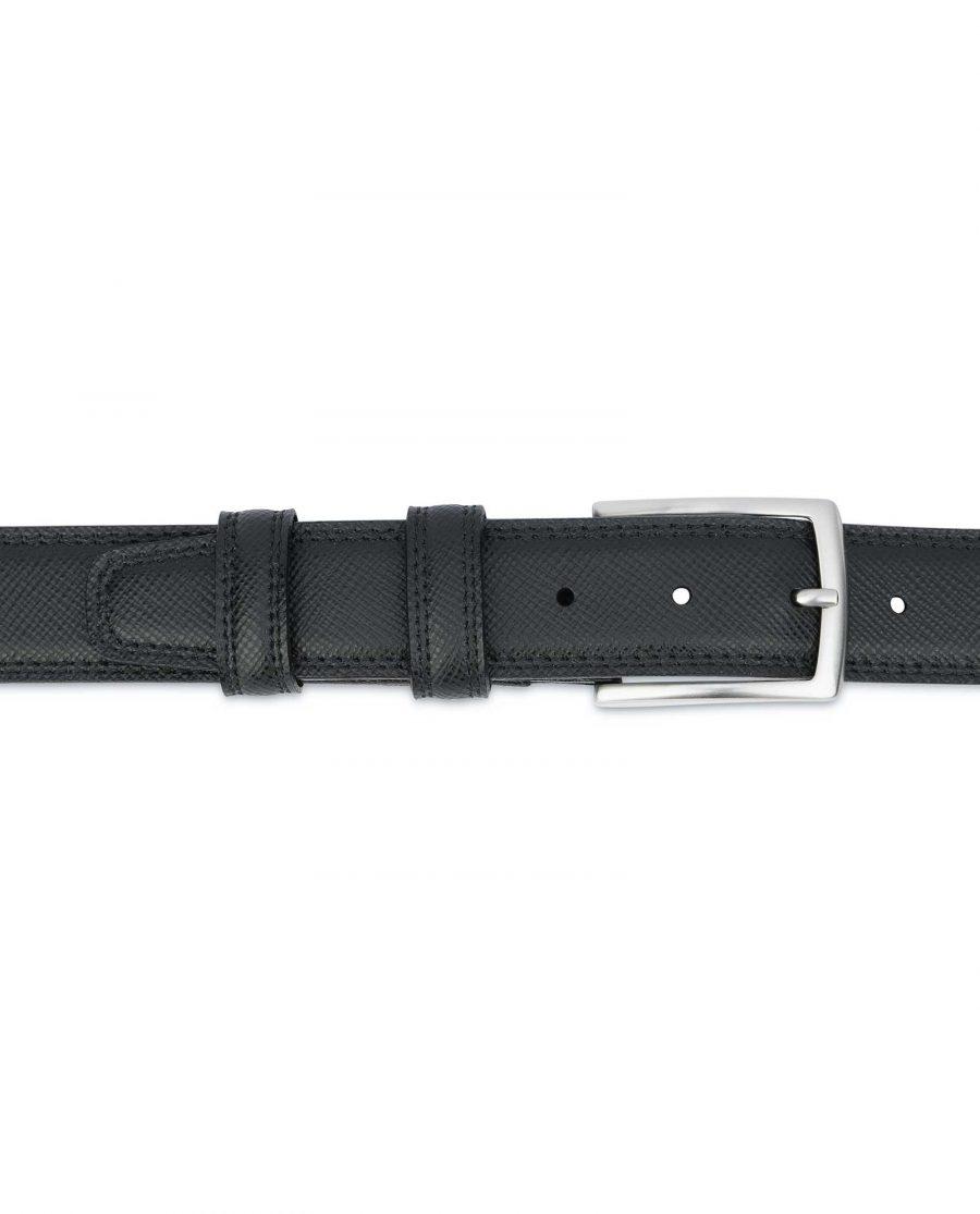 Saffiano-Black-Leather-Belt-Mens-Dress-On-trousers