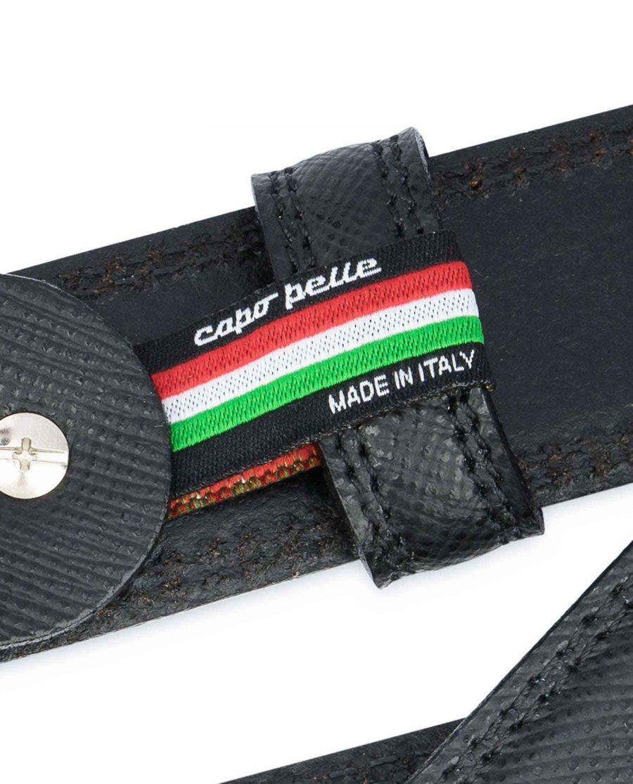 Saffiano-Black-Leather-Belt-Mens-Dress-Woven-label
