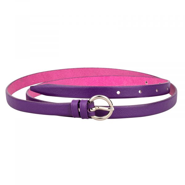 Saffiano-skinny-belt-purple