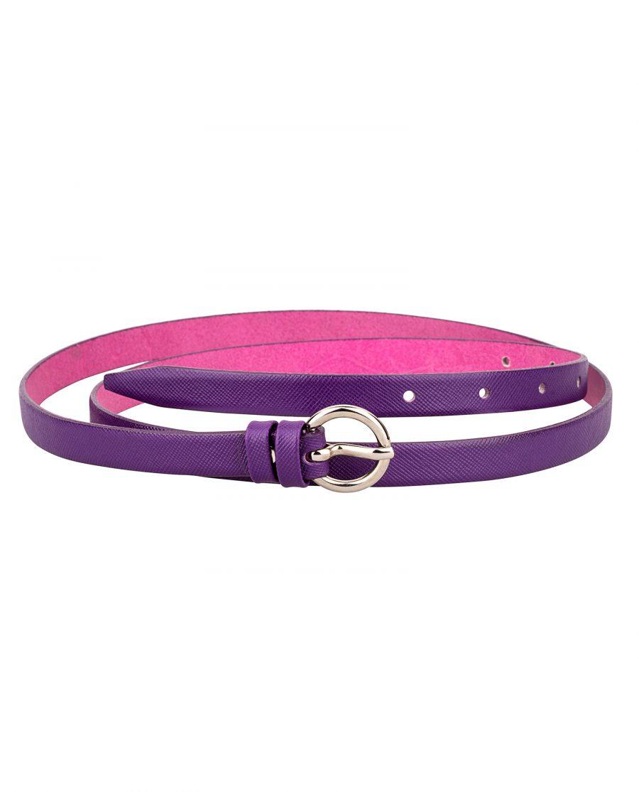 Saffiano-skinny-belt-purple