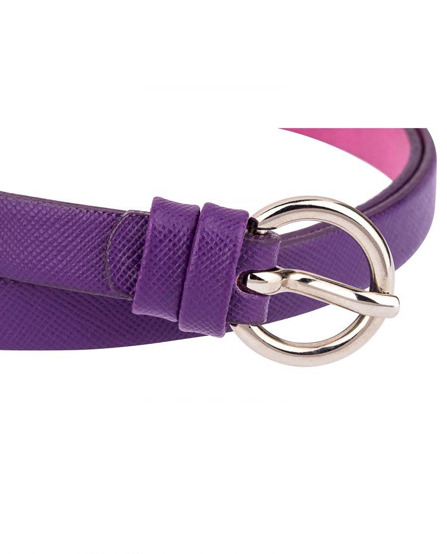 Saffiano-skinny-belt-purple-buckle