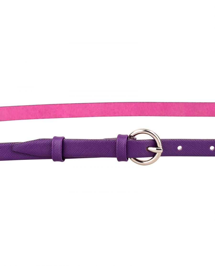 Saffiano-skinny-belt-purple-buckle-On-pants