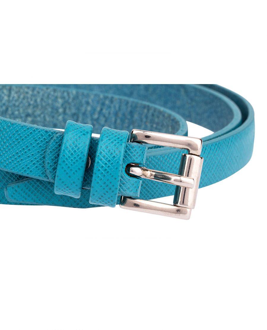 Saffiano-skinny-belt-teal-buckle