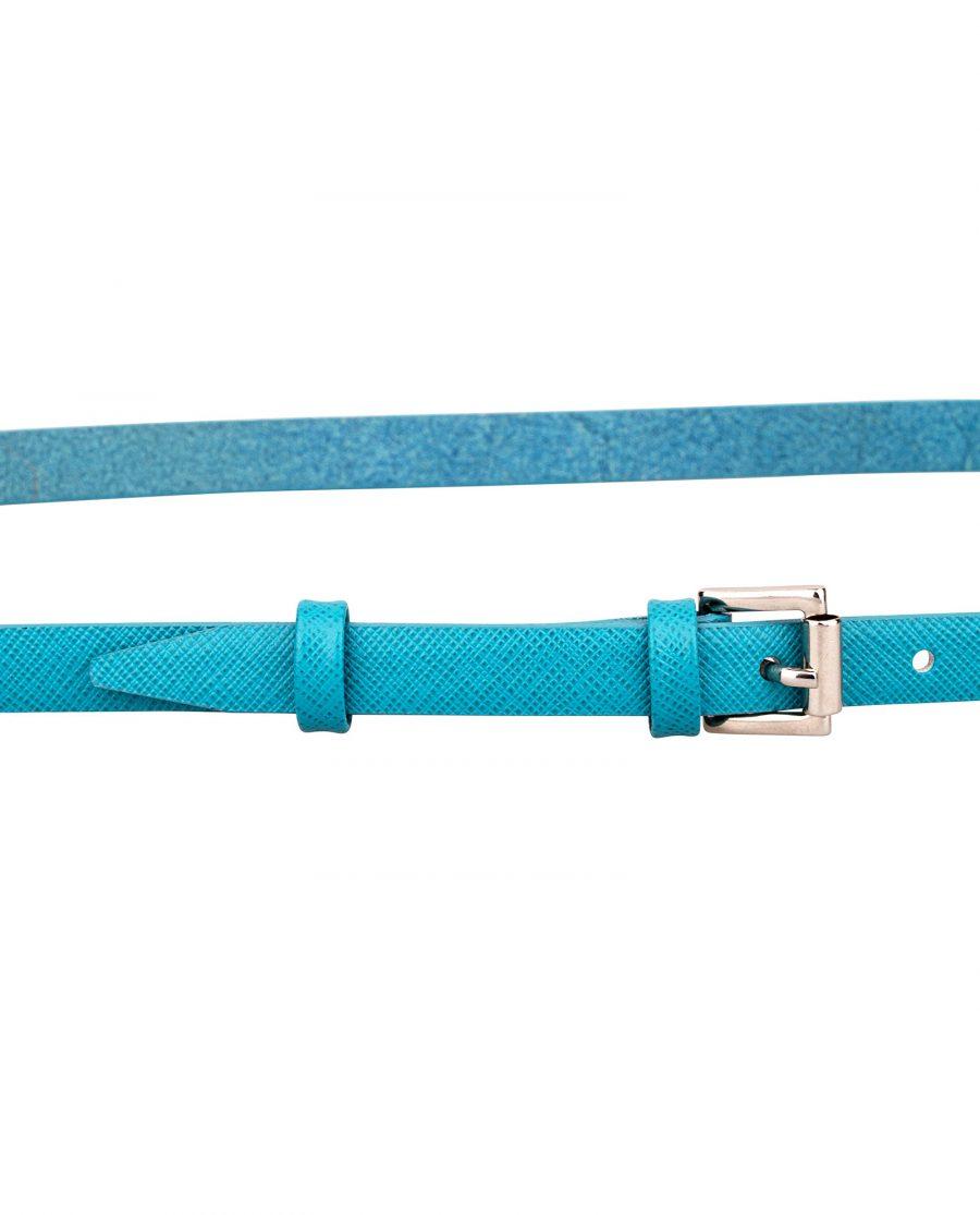 Saffiano-skinny-belt-teal-buckle-On-pants