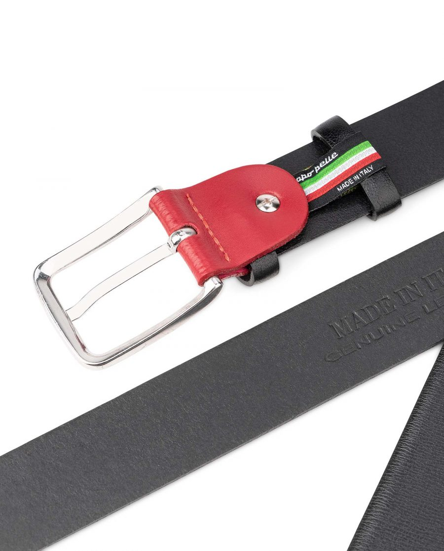 Smooth-Leather-Belt-in-Black-with-Red-Buckle-Mens-by-Capo-Pelle-Hot-stamp