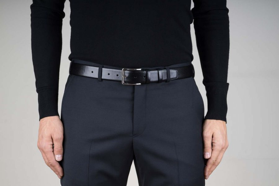 Smooth-Mens-Black-Leather-Belt-Live-on-Pants