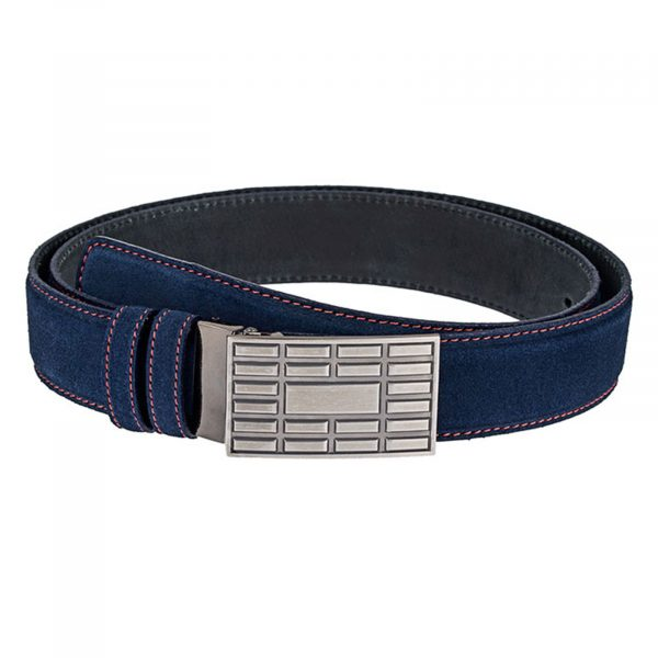 Suede-Belt-Red-Thread-With-Brick-Buckle-Front-One