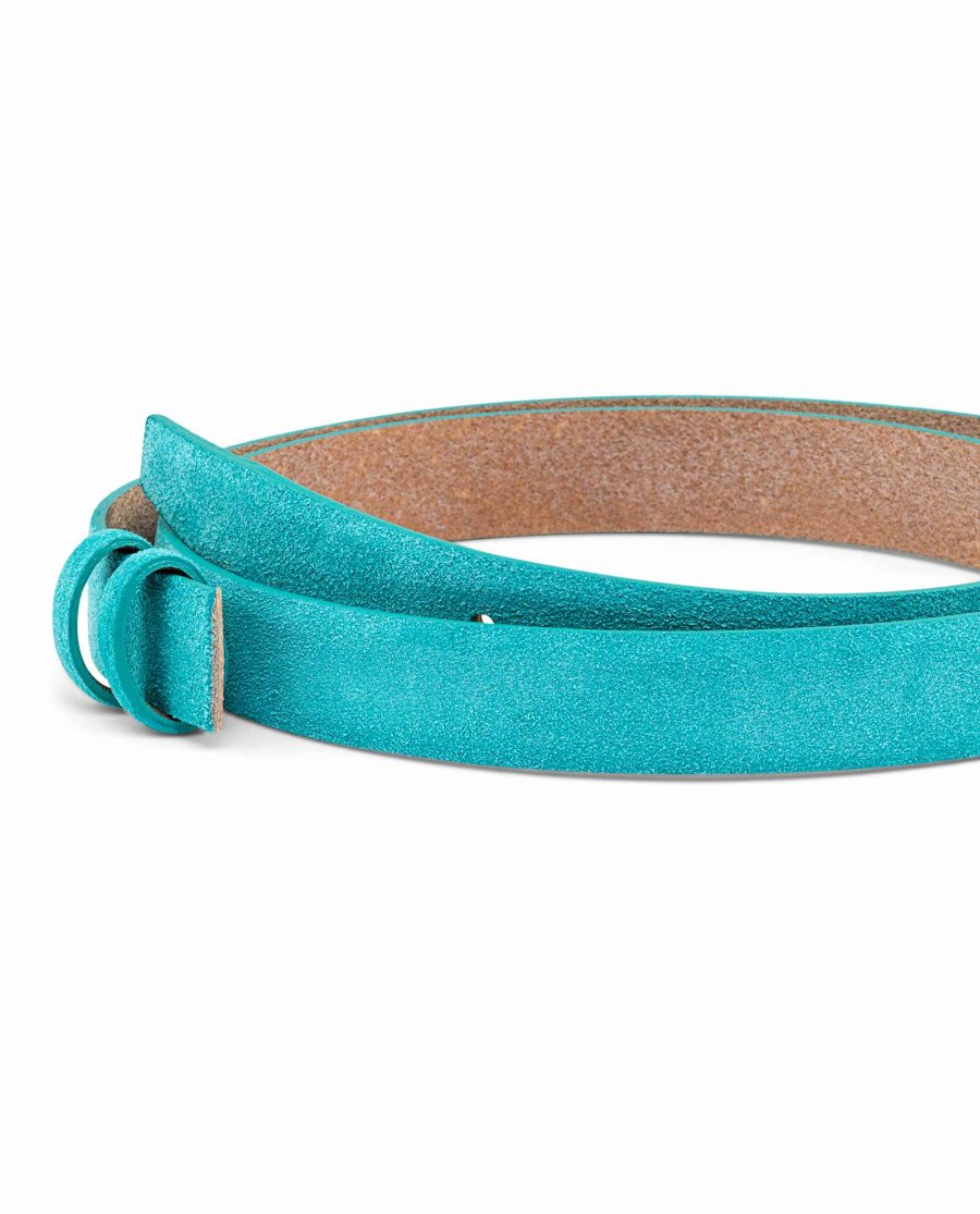 Suede-Turquoise-Leather-Belt-Strap-25-mm-Buckle-mount
