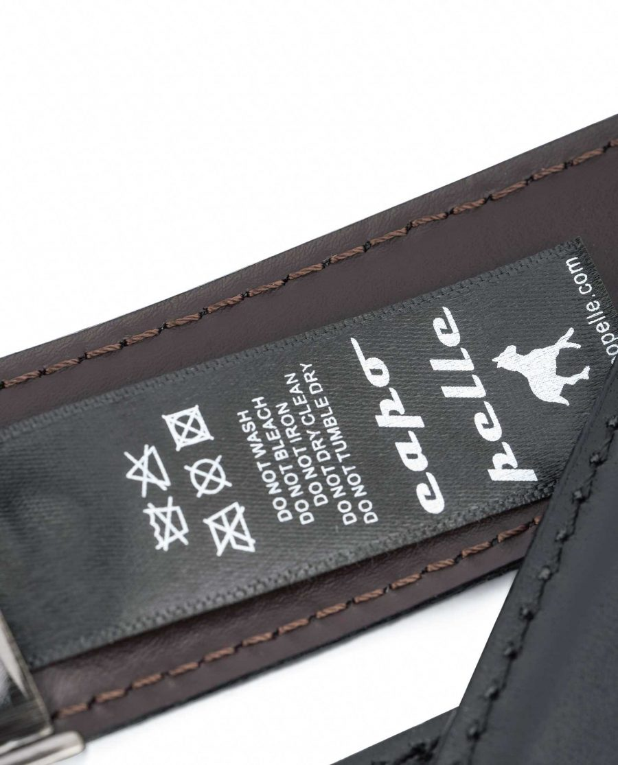 Swivel-Buckle-Two-Sided-Leather-Belt-Capo-Pelle-Care-tag