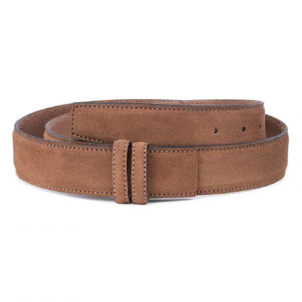 Tan-Suede-Belt-Strap-35-mm-Brown-Genuine-Leather-Capo-Pelle-First-picture