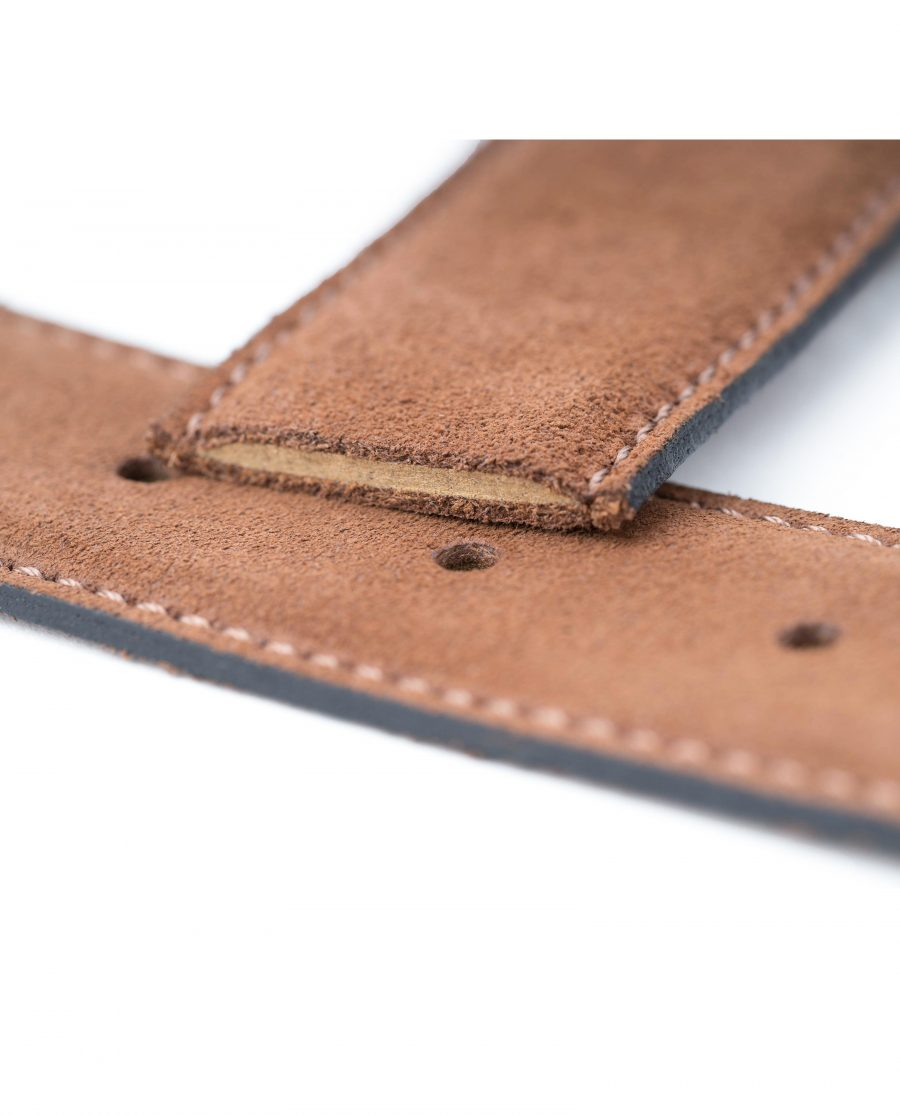 Tan-Suede-Belt-Strap-35-mm-Brown-Genuine-Leather-Capo-Pelle-Leather-cut