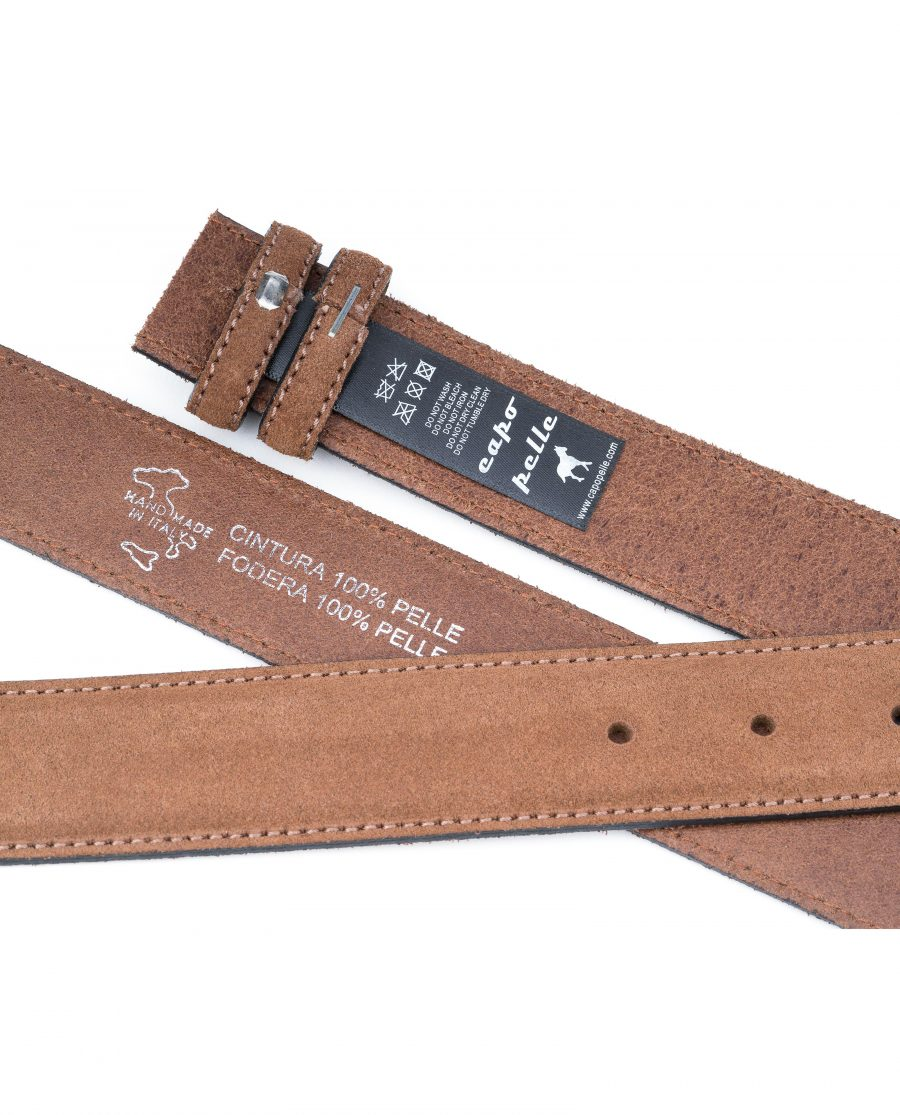 Tan-Suede-Belt-Strap-35-mm-Brown-Genuine-Leather-Capo-Pelle-Tags