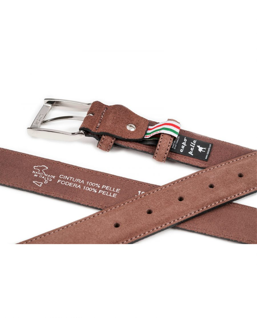 Tan-Suede-Belt-by-Capo-Pelle-Cognac-brown-Italian-Calf-Leather-Heat-stamp