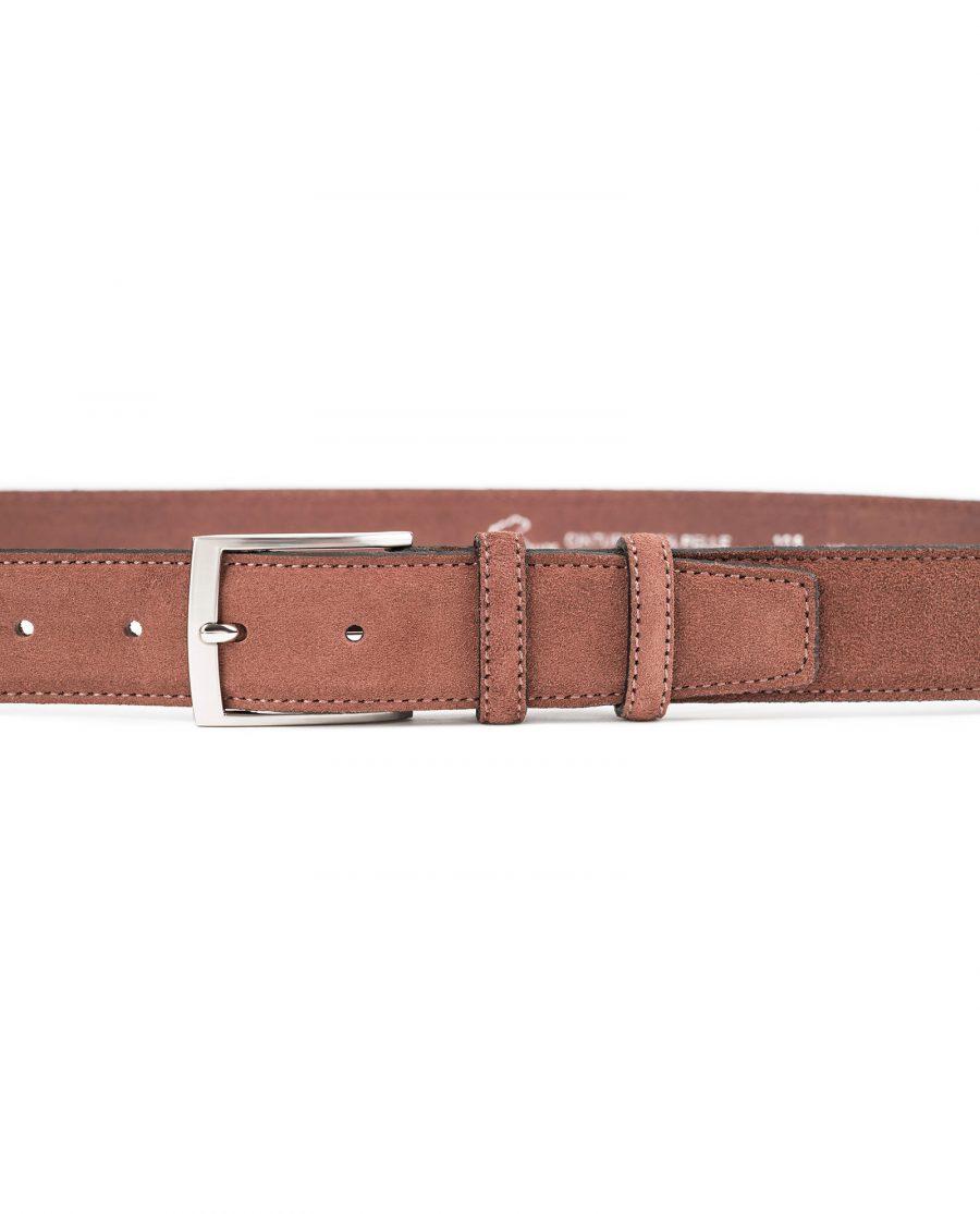 Tan-Suede-Belt-by-Capo-Pelle-Cognac-brown-Italian-Calf-Leather-On-pants