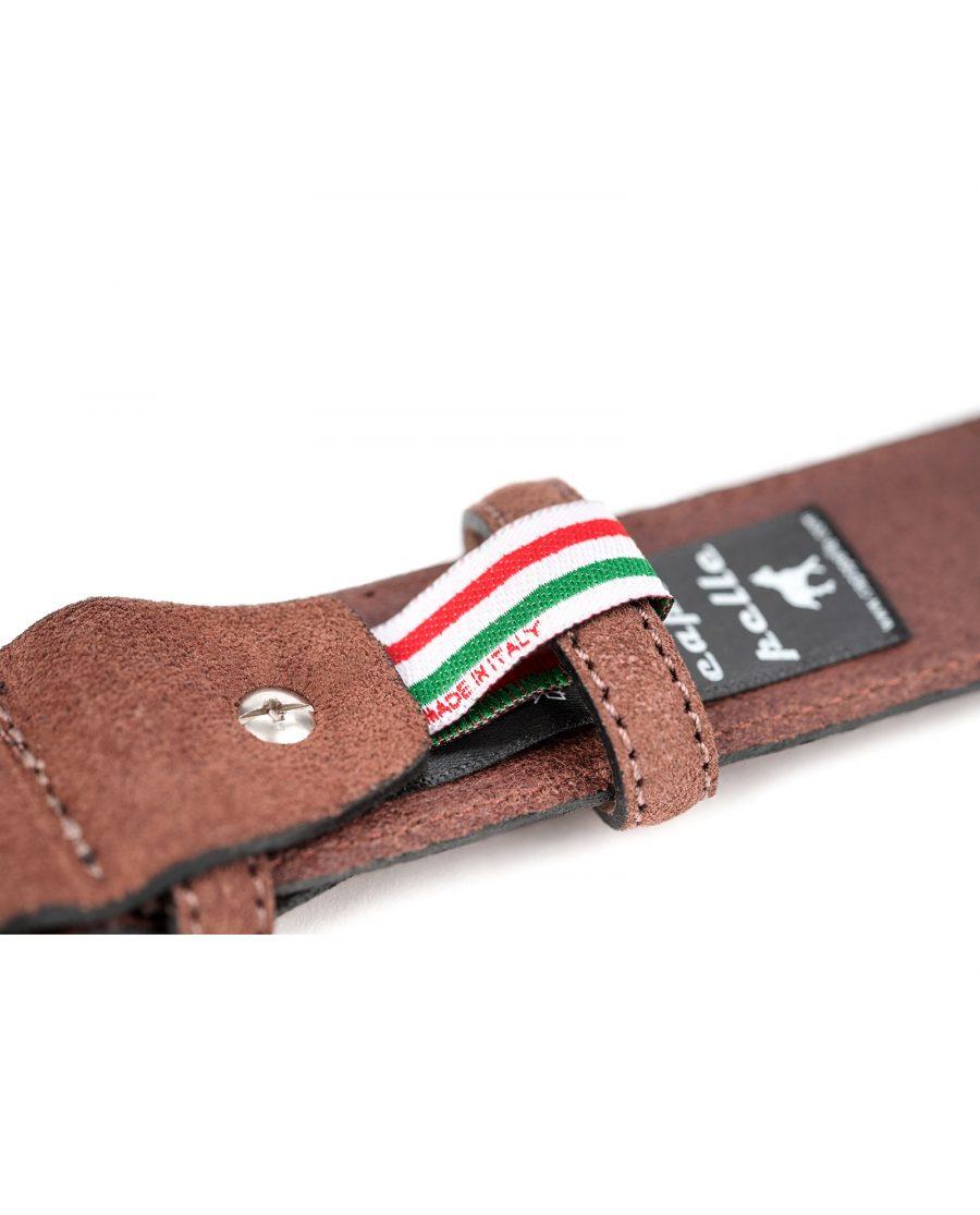 Tan-Suede-Belt-by-Capo-Pelle-Cognac-brown-Italian-Calf-Leather-Ribbon