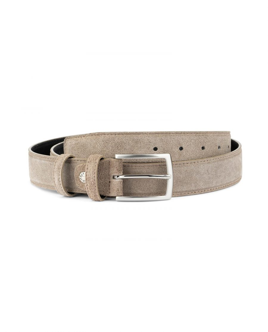 Taupe Suede Belt Mens Womens For jeans Capo Pelle