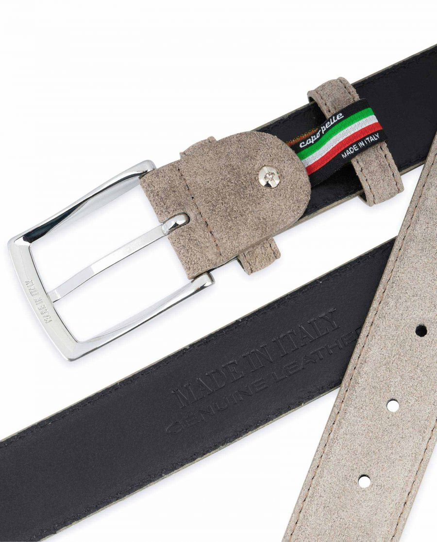 Taupe Suede Belt Mens Womens For jeans Made in Italy