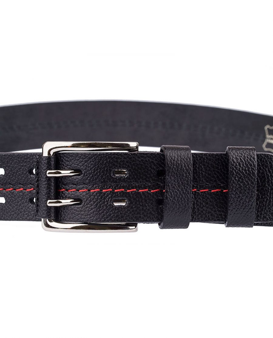 Thick-Leather-Belt-Red-Threaded-Buckle