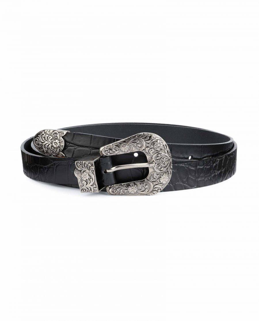 Thin-Black-1-inch-Western-Belt-Crocodile-Embossed-Leather-Capo-Pelle