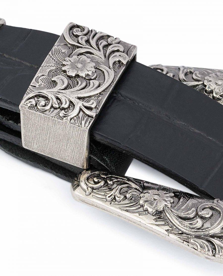 Thin-Black-1-inch-Western-Belt-Crocodile-Embossed-Leather-Metal-loop