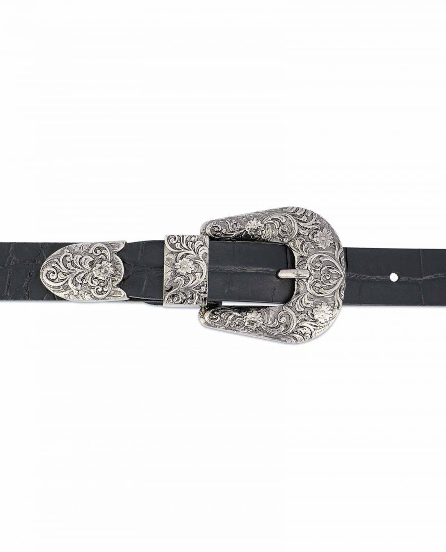 Thin-Black-1-inch-Western-Belt-Crocodile-Embossed-Leather-On-dress