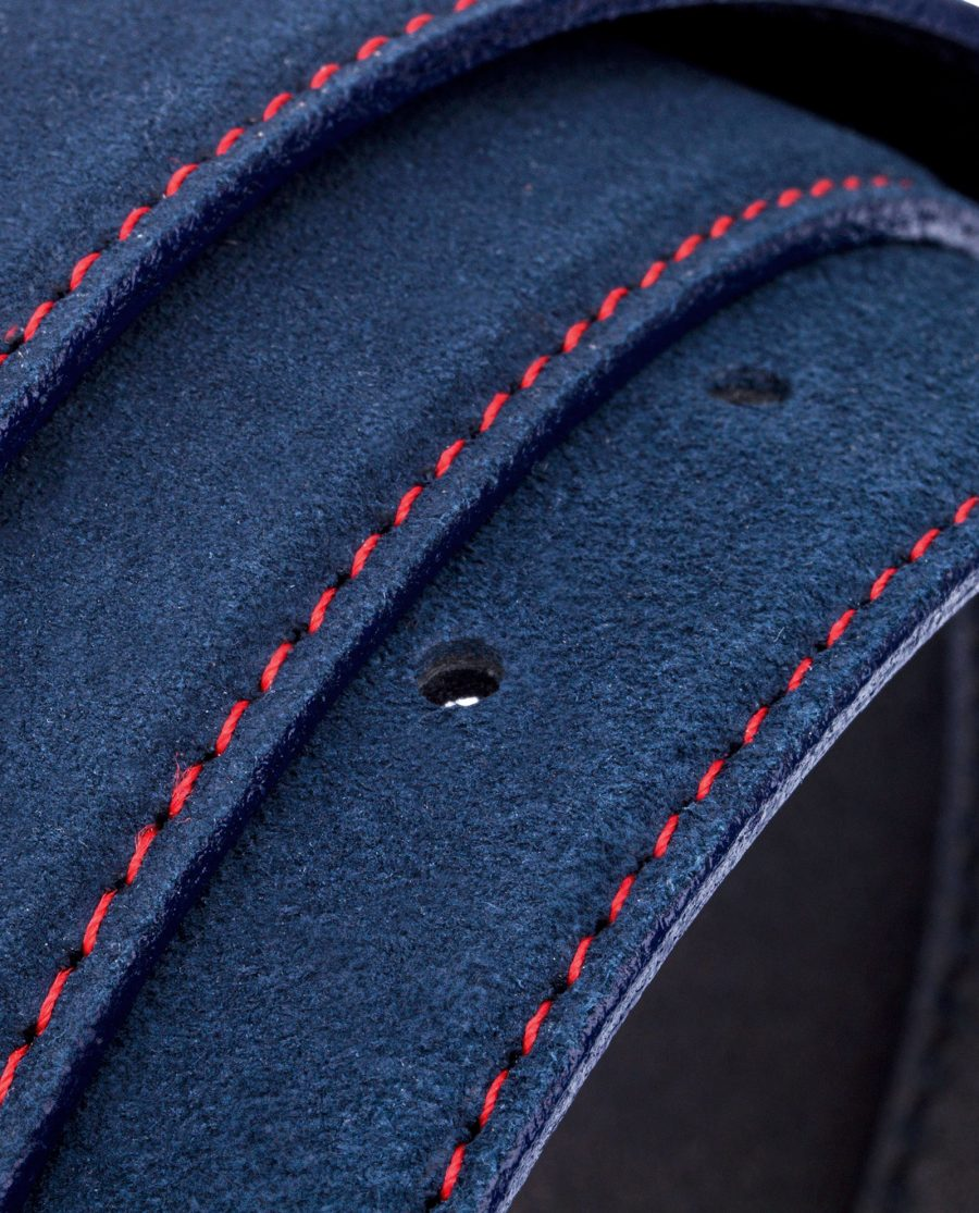 Thin-Blue-Suede-Belt-Rolled-strap