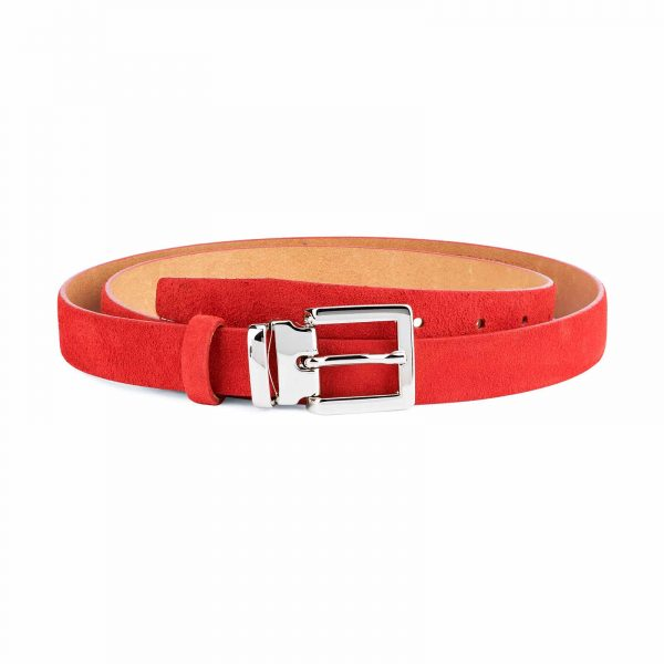 Thin-Red-Suede-Belt-Womens-1-inch-Capo-Pelle