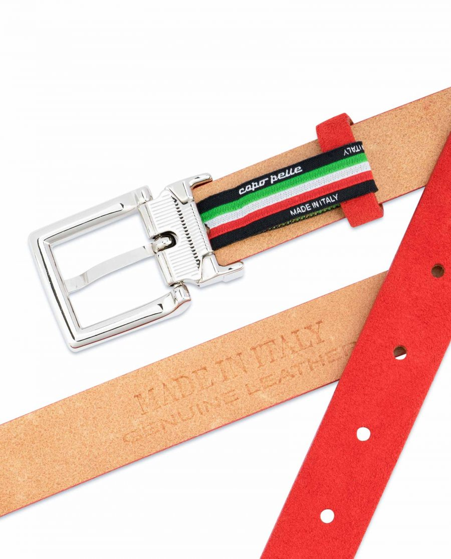 Thin-Red-Suede-Belt-Womens-1-inch-Italian-leather