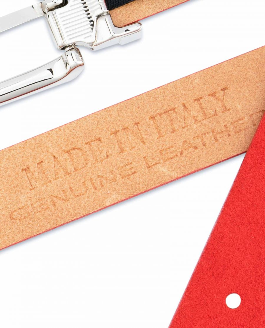 Thin-Red-Suede-Belt-Womens-1-inch-Made-in-Italy-stamp