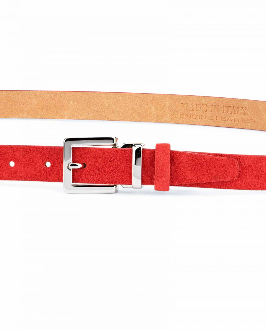Thin-Red-Suede-Belt-Womens-1-inch-On-dress